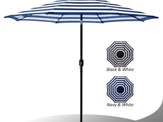 Maypex 9 Feet Stripe Crank and Tilt Market Umbrella   Royal White