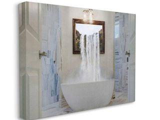 Stupell Industries Bathtub Waterfall Abstract Bathroom Photograph Canvas Wall Art