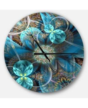 Designart  Fractal Blue Flowers  Oversized Modern Wall Clock  Retail 134 99