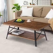 Carbon loft Enjolras Wood  Steel Coffee Table  Retail 149 49 rustic brown
