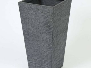 Grey Stone Finish Tall Tapered Square MgO Planter
