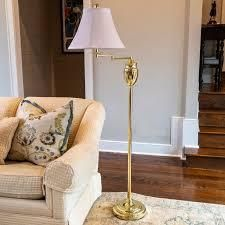 Swing arm Floor lamp with Faux Silk Shade