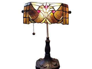 Tiffany Style Table lamp Floral 13  Tall Stained Glass Tan Decor Night Stand Bedroom Handmade Gift AM339Tl10 Amora lighting  Retail 79 98
