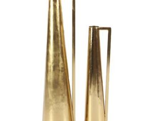 The Curated Nomad Dinah 2 piece Modern Gold Tapered Iron Pitcher Vase Set