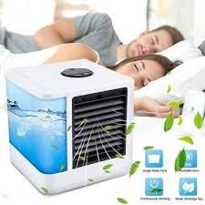 Portable Air Conditioner Personal Evaporative Air Cooler Purifier Humidifier Desktop Cooling Fan   White