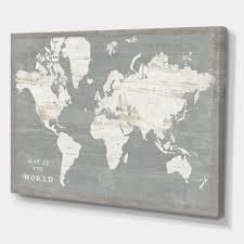 Designart   Slate World Map  Cottage Canvas Wall Art