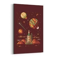 Noir Gallery Sci Fi Rocket Ship Space Canvas Wall Art Print  Retail 289 99