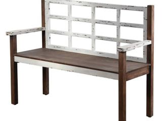 StyleCraft Distressed White Wooden Bench  Retail 187 99