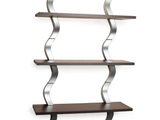 40  x 27 5  Three Tier Waves Shelf Brown Silver   Danya B