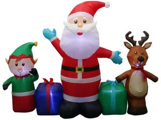 Home Accents Holiday Pre lit Inflatable Santa  Reindeer and Elf Collection Airblown Scene6 50 ft Inflatables Outdoor Christmas Decorations 114373