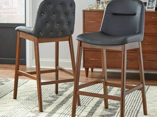 lifestorey Raffael 30 inch Black Faux leather Bar Stool  Set of 2  Retail 222 99