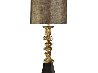 StyleCraft Contemporary Vintage Gold and With Black Table lamp   White Hardback Fabric Shade  Retail 130 99
