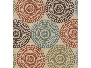 The Curated Nomad Wilson Floral Beige Blue Indoor Outdoor Area Rug  Retail 219 99