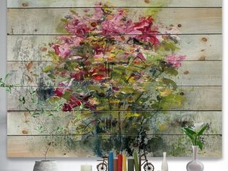 Designart  Bouquets Of Roses Painting Art  Floral Print on Natural Pine Wood   Green  Retail 129 49