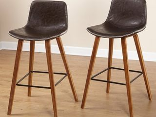 Simple living Wapoli Mid century Faux leather Bar Stools  Set of 2  Retail 187 49