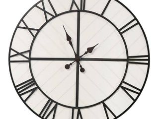 Stratton Home Decor Oversized 31 inch Henry Black and White Wood Wall Clock   31 69 X 1 57 X 31 69  Retail 94 99