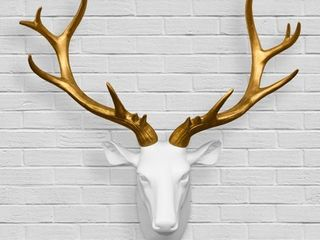 Walplus Contemporary Taxidermy White Gold Deer Head Home Decor Art  Retail 83 49