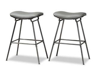 Jette Modern and Contemporary Upholstered Metal 2 Piece Bar Stool Set  Retail 89 49
