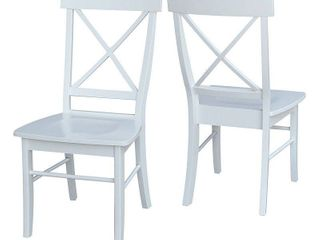 Set of 2 X Back Chairs with Solid Wood Seats White   International Concepts