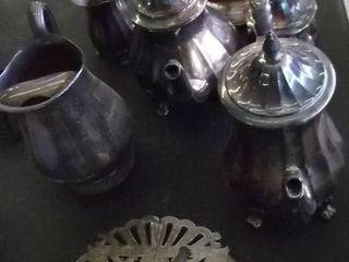 silver tea sets and trivet