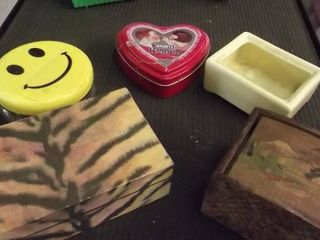 wood and plastic trinket boxes   Happy face
