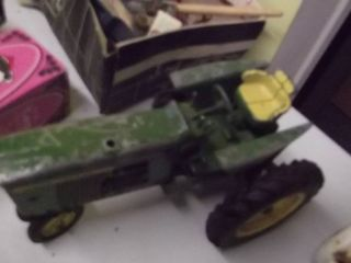 metal John Deere toy tractor