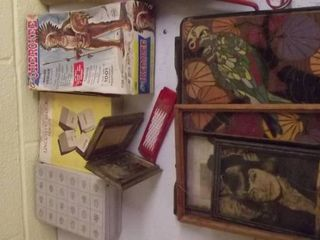 Old plastic toys   Cowboys and Indians   picture frames