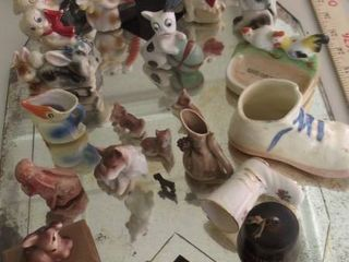 dog and cat figurines   porcelain shoes