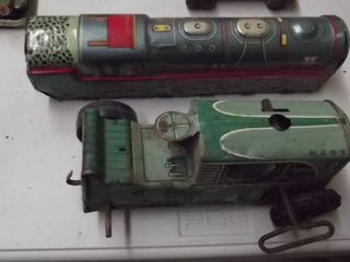 old metal toy train engine and race car