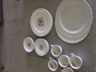 white and floral glass china pieces