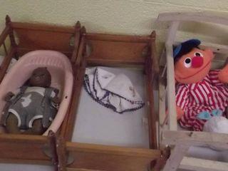 3   doll cribs   Ernie from Sesame street
