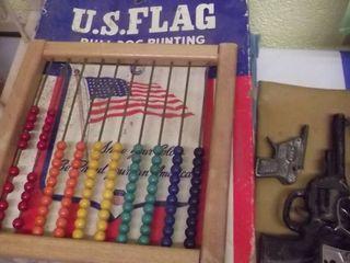 old toy cap guns   Walt Disney puzzle   US Flag