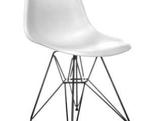 Mid Century Modern Dining Accent Side Chair with White with Black legs Damage On Front