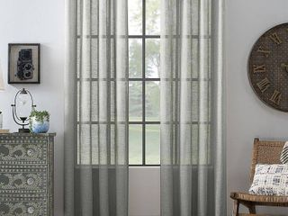 Archaeo Slub Textured linen Blend Grommet Top Curtain Panels Pairs