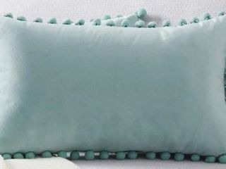 High Quality  Pom Pom Velvet Series Decorative Throw Pillow Cover  light Blue