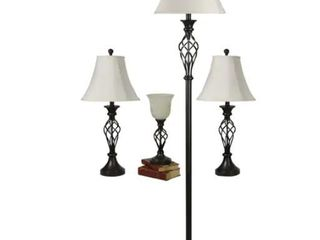 Clairiby 4 Piece Standard lamp Set with Off white Shades