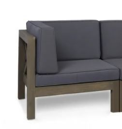 Brava Outdoor Acacia Wood Corner Seat Christopher Knight Home  Dark Grey Cushion