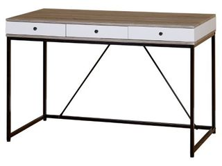 Chelsea Desk With 3 Drawers  Black Gray White