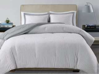 Madison Park Essentials Braydon Reversible Yarn Dyed Stripe Down Alternative Twin Comforter Set  Grey