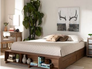 Carbon loft Dehaney Modern Wood Platform King Bed With Shelves In Rustic Ash Walnut Brown  Retail 489 99