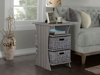 All in 1 Side Table with Storage Basket  Grey  Retail 158 99