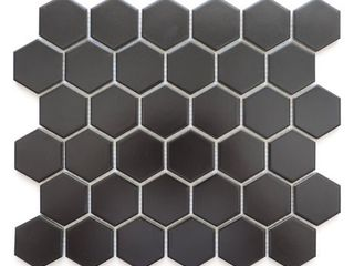 Barcelona Hexagon Glazed Porcelain Mosaic Tile  Matte Black  Retail 276 99  Chips To Tiles  10 Tiles
