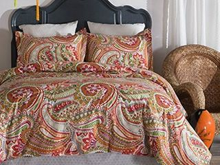 Pomegranate Paisley Cotton Reversible 3 piece Queen Comforter Set