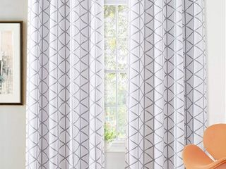 DriftAway Raymond Geometric Pattern lined Blackout Window Curtain Panel Pair
