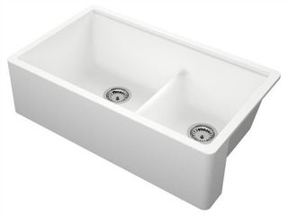 Titan Farmhouse Granite 33  Double Bowl Kitchen Sink   Retail 499 99  Damaged