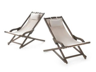 Nikki Outdoor Wood Sling Chair by Christopher Knight Home   Set of 2  Retail 189 39