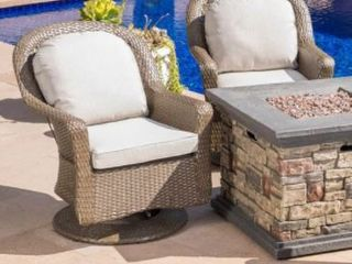 Alhambra Outdoor Wicker Swivel Seating Set of 2 with Cushions by Christopher Knight Home