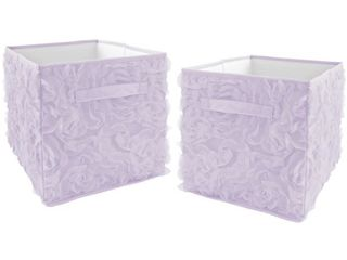 Purple Floral Rose Foldable Fabric Storage Bins  2    Solid lavender