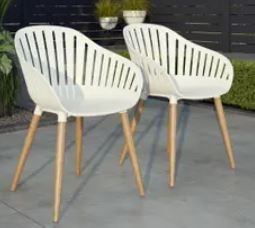 Amazonia Arauko Modern Wood Chairs  Set of 2