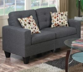 linen like Cushioned Fabric Tufted living Room Sofa